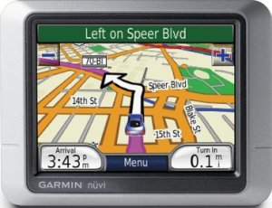 My GPS unit, the Garmin Nüvi 260. It's a pretty basic model but the maps are the same as in the more expensive models. OK, it can't play MP3s or connect my mobile phone with it via Bluetooth. Tough.