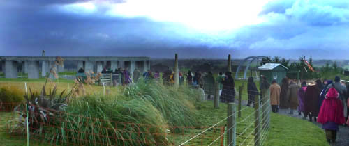 Celebrants and gawpers moving, in the gathering gloom, to the Stonehenge Aoteoroa structure for the Alban Arthan ceremony.