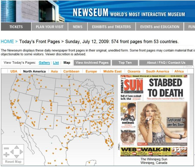 Jumping-off point for today's North American newspapers. Clicking on a yellow marker brings up the front page for that locality's newspaper. Click to enlarge.