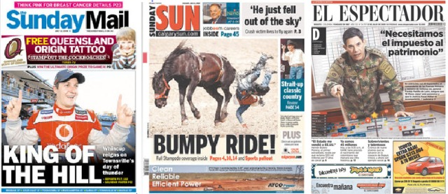 Sunday Mail (Brisbane), Sunday Sun (Calgary), El Espectador (Bogota). Click to enlarge.