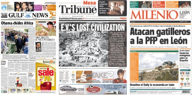 Gulf News (UAE), Tribune (Mesa, Arizona), Leon Milenio (Mexico). Click to enlarge.