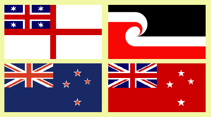 Flags from which a 'Maori' flag will be chosen, currently under debate. Top left: Flag of the Independent Tribes; top right: the Tino Rangatiratanga flag; bottom left: the current NZ national flag; bottom right: the Red Ensign.
