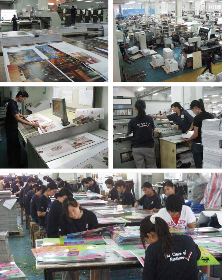 "Scenes at the Everbest printing plant in Nansha, China (up the Pearl River Delta opposite Hong Kong.) The table of young women doing 'fiddly' work, directly above, is probably where thousands of red dots would have been stuck into the 'Meet Me at Beggs' books. It was an interesting plant. Full of high-tech equipment, with no shortage of  human hands for labour-intensive work. They all wore company polo shirts that proclaimed 'The Choice of Excellence"". It's hard to know how the workers felt about working there, but the atmosphere seemed good."