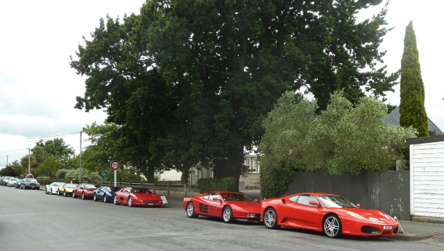 Seven Ferraris in a row. There were two strays elsewhere.
