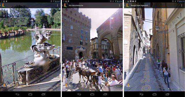 Scenes in Florence, from Google Streetview on my Nexus 7 tablet. Left: The Bomboli Gardens. (Note the fuzzed out genitals. Google is as bad as the English in Victorian times. I saw lots of fuzzings-out on statues during my Streetview tour of Florence.) Centre: Piazza della Signoria, with the Palazzo Vecchio in the background. The book's protagonist, Robert Langdon, had an adventurous time in this building. Right: Typical of the many narrow Florence streets Langdon negotiated while escaping various pursuers. (Click to enlarge.)