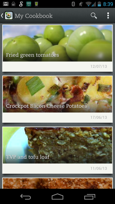 'My recipes' list in Evernote Food on my phone.