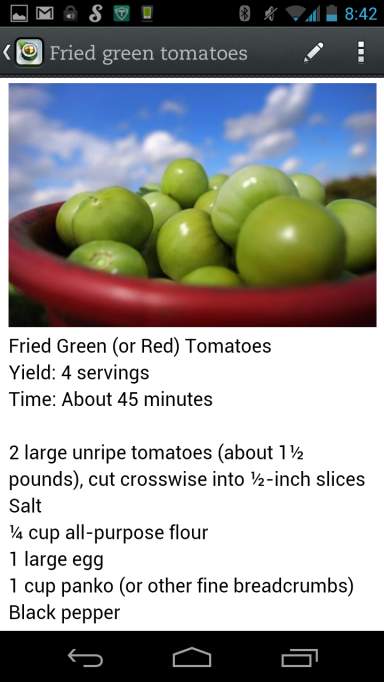 The fried green tomatoes recipe opened up. The text is quite oarge and easy to read at the kitchen bench.