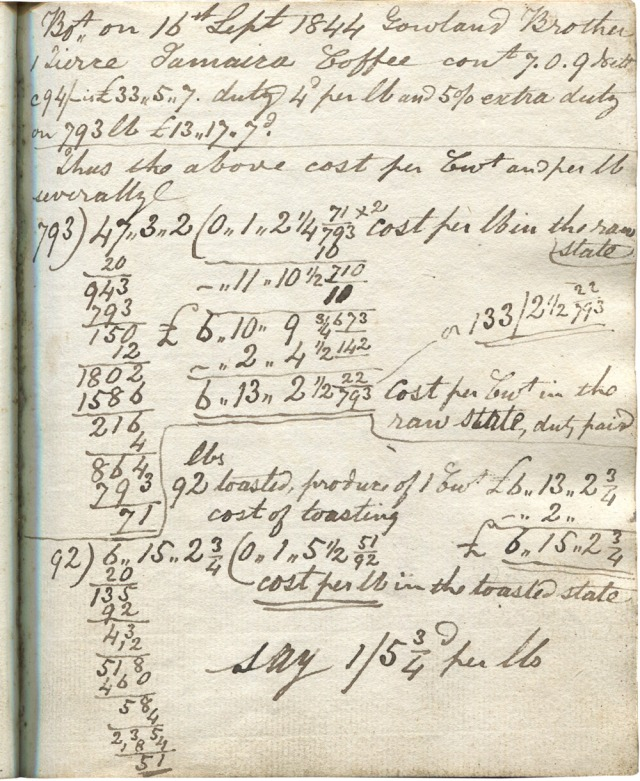One of the pages in John McGibbon's notebook. Note the precision in the calculations. He sure knew how to do long arithmetic – though maybe he had some kind of ready-reckoner tables.  32/720ths of a penny is somewhat precise!
