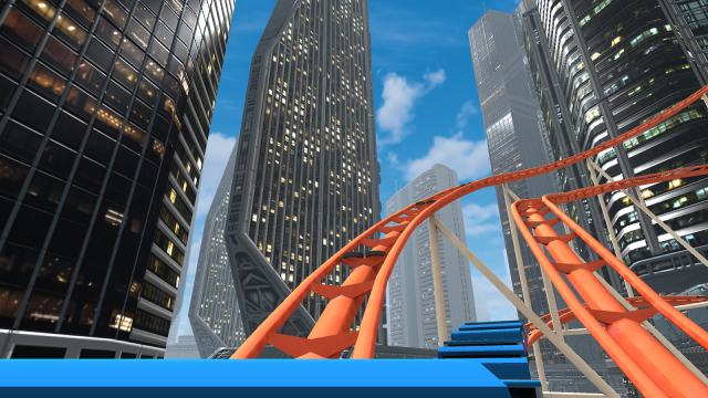Scene from VR Rollercoaster. The two-dimenional view doesn't do it justice.