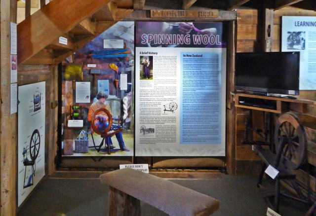 My spinning history display at The Wool Shed, Masterton.